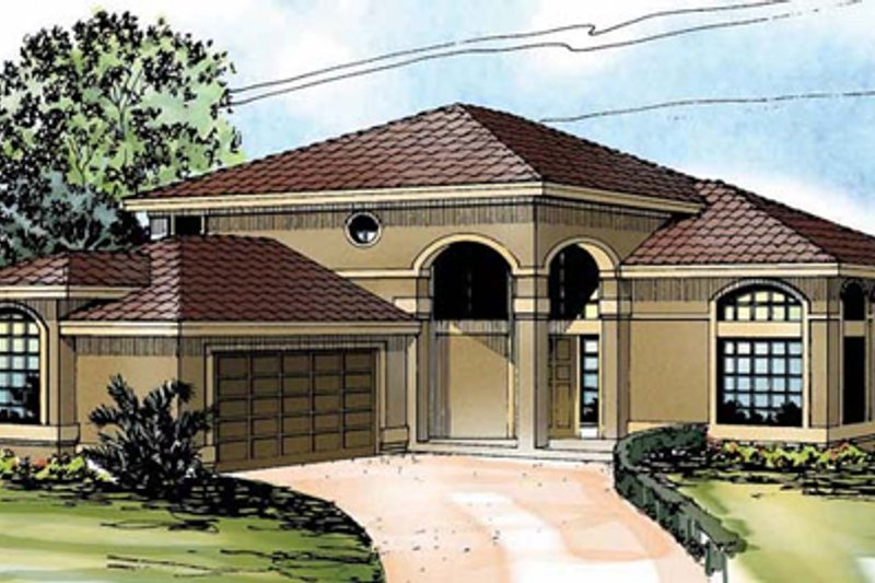 Mediterranean Exterior - Front Elevation Plan #124-237