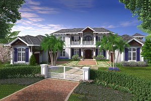 Colonial Exterior - Front Elevation Plan #27-464
