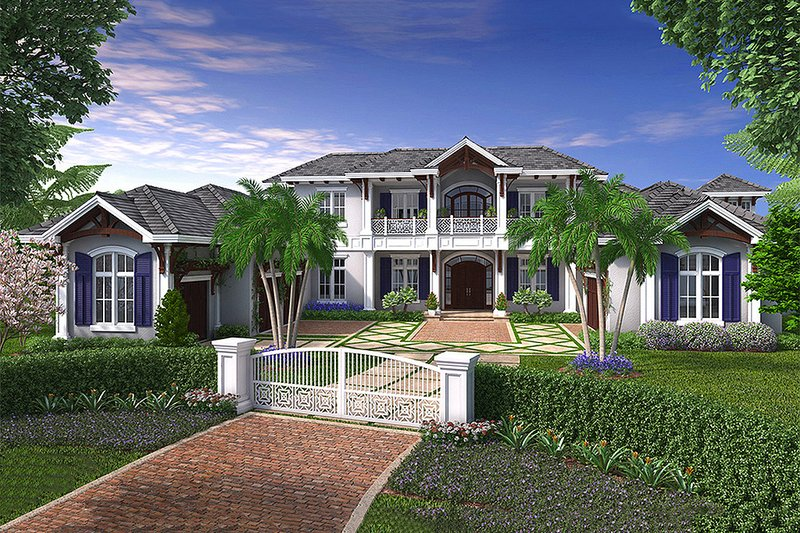 Colonial Style House Plan - 5 Beds 5.5 Baths 13601 Sq/Ft Plan #27-464 Exterior - Front Elevation