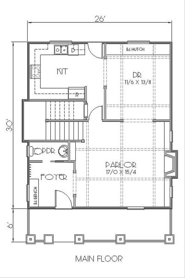 Craftsman Floor Plan - Main Floor Plan Plan #423-40