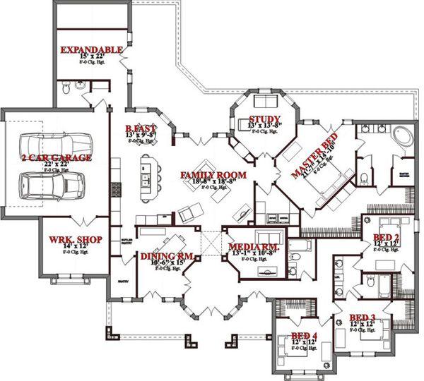 Mediterranean Floor Plan - Main Floor Plan Plan #63-325