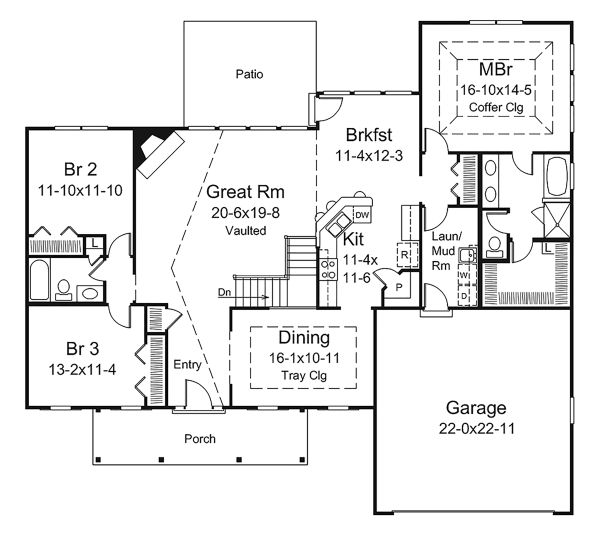 House Design - Ranch Floor Plan - Main Floor Plan #57-639