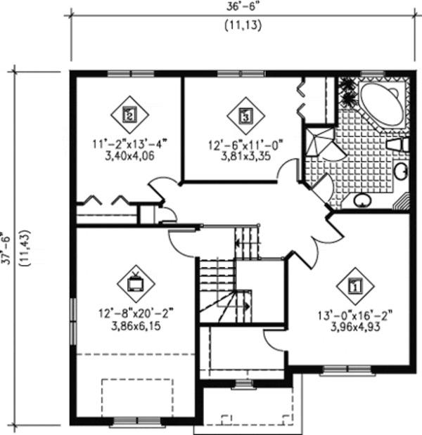 Traditional Floor Plan - Upper Floor Plan Plan #25-4254
