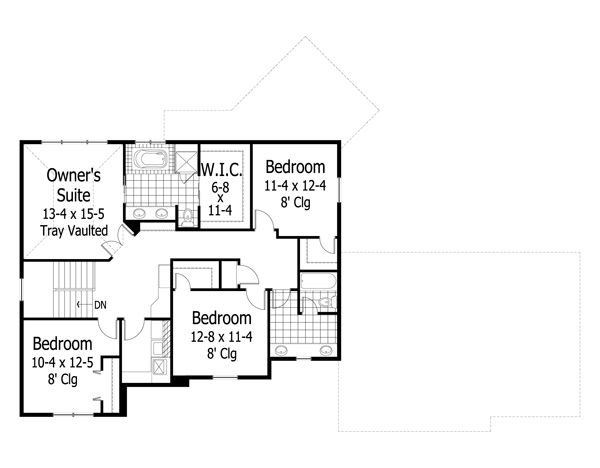 Craftsman Floor Plan - Upper Floor Plan Plan #51-443