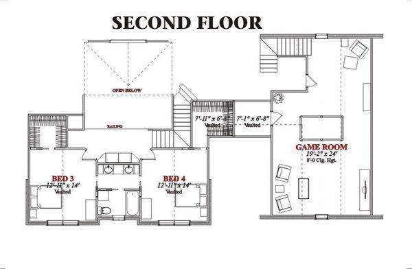 Traditional Floor Plan - Upper Floor Plan Plan #63-209