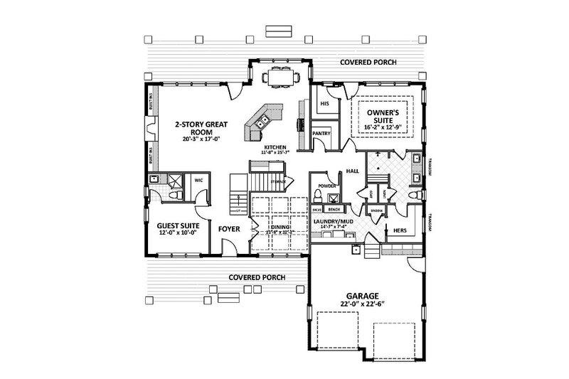 Country Floor Plan - Main Floor Plan Plan #898-47