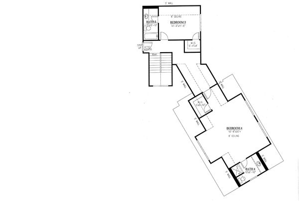 Craftsman Floor Plan - Upper Floor Plan Plan #437-85
