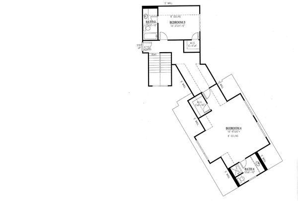 Craftsman Floor Plan - Upper Floor Plan Plan #437-85