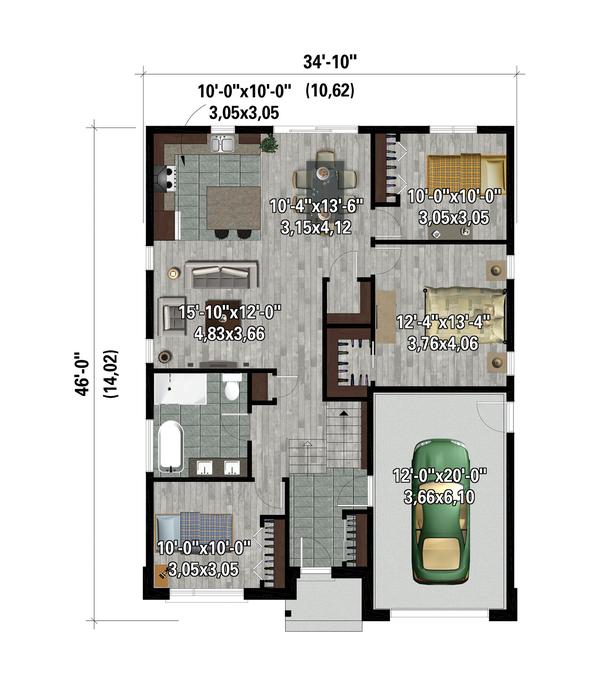 Contemporary Floor Plan - Main Floor Plan #25-4878