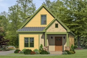 Cabin Exterior - Front Elevation Plan #932-19