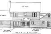 Country Style House Plan - 5 Beds 3.5 Baths 2750 Sq/Ft Plan #11-210 Exterior - Rear Elevation