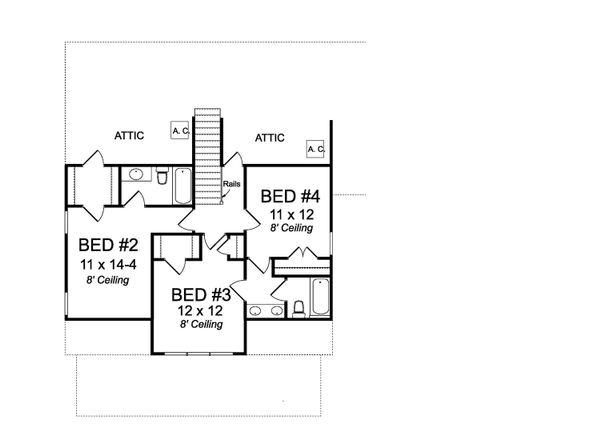 Farmhouse Floor Plan - Upper Floor Plan Plan #513-2186