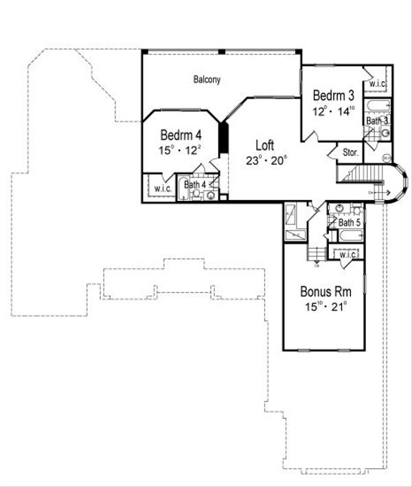 European Floor Plan - Upper Floor Plan Plan #417-436