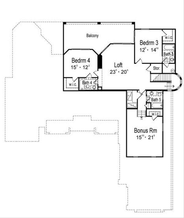 European Floor Plan - Upper Floor Plan Plan #417-436