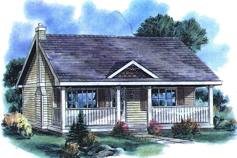 Cottage Style House Plan - 1 Beds 1 Baths 614 Sq/Ft Plan #18-1048