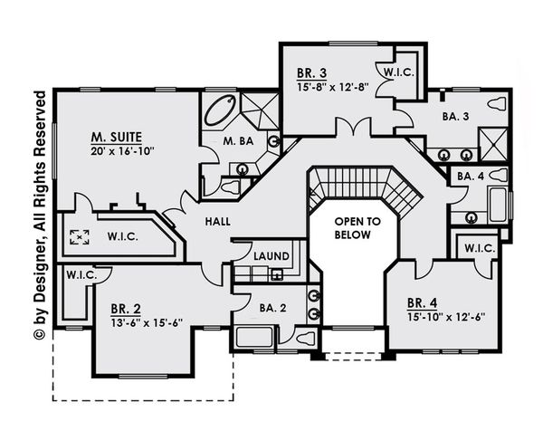Contemporary Floor Plan - Upper Floor Plan Plan #1066-16