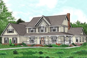 House Design - Farmhouse style, country design home, front elevation