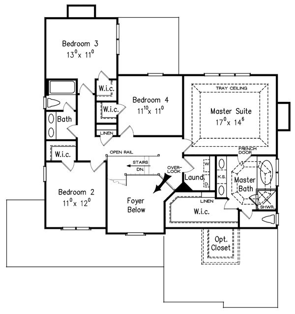 Dream House Plan - Craftsman Floor Plan - Upper Floor Plan #927-1