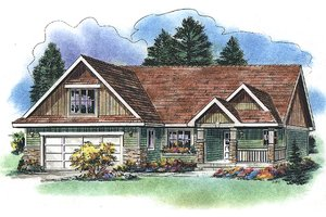 Ranch style country home, elevation