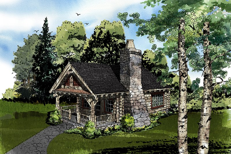 Log Style House Plan - 1 Beds 1 Baths 360 Sq/Ft Plan #942-44 Exterior - Front Elevation
