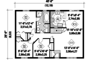 Country Style House Plan - 3 Beds 1 Baths 1120 Sq/Ft Plan #25-4804 Floor Plan - Main Floor Plan