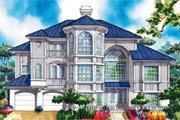 Mediterranean Style House Plan - 3 Beds 2.5 Baths 2689 Sq/Ft Plan #930-78 Exterior - Front Elevation