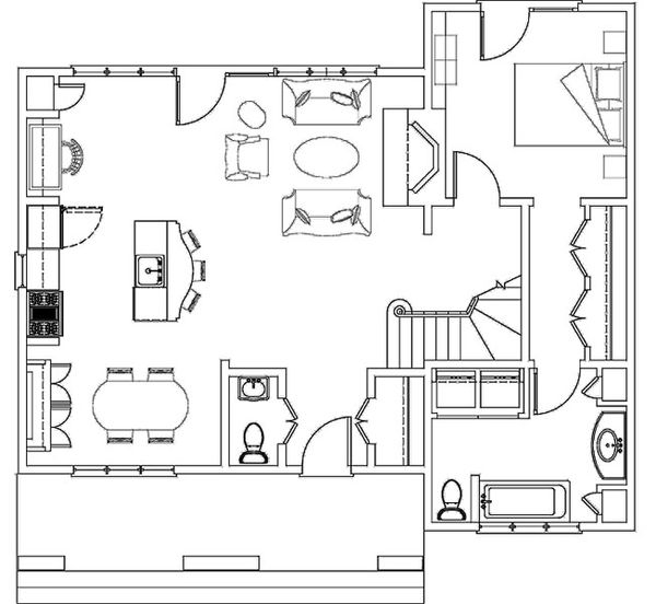 Craftsman Floor Plan - Main Floor Plan Plan #492-6