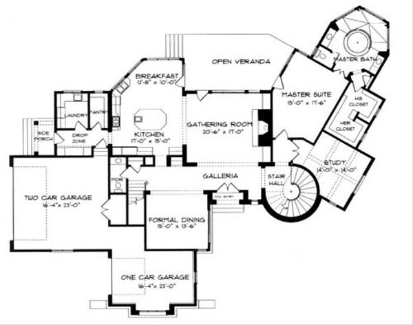 Architectural House Design - European Floor Plan - Main Floor Plan #413-120