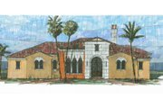 Mediterranean Style House Plan - 4 Beds 5.5 Baths 4010 Sq/Ft Plan #426-2 Exterior - Front Elevation