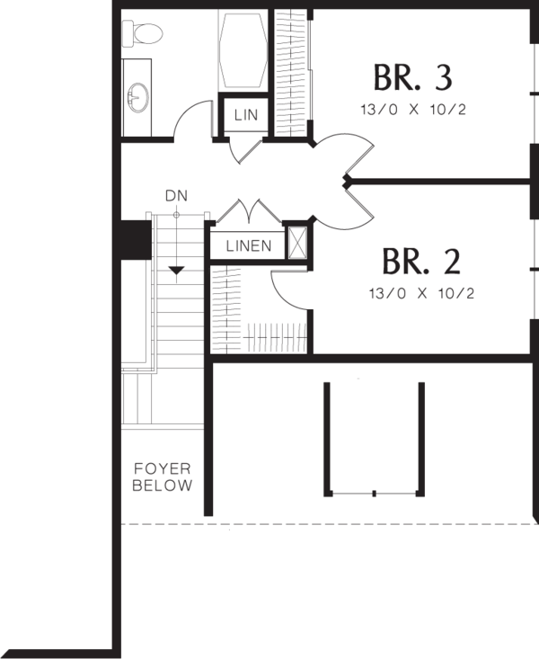 Traditional Floor Plan - Upper Floor Plan Plan #48-568