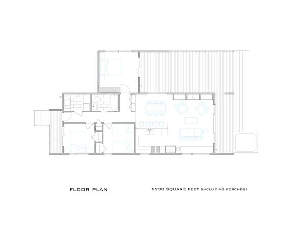 Modern Cottage designed house plan, main level floor plan