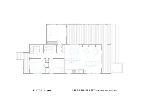 Modern Cottage designed house plan, main level floor plan
