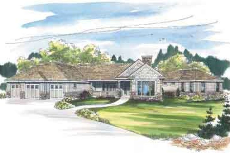 Ranch Exterior - Front Elevation Plan #124-457