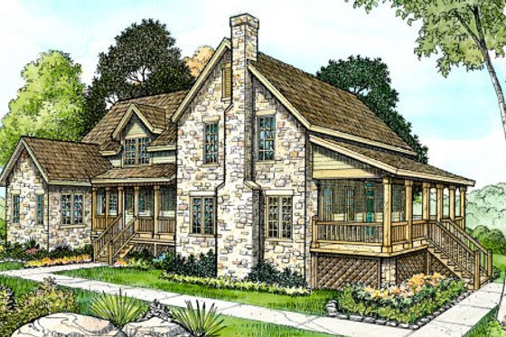 Country Exterior - Front Elevation Plan #140-144