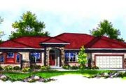 Mediterranean Style House Plan - 3 Beds 3.5 Baths 3002 Sq/Ft Plan #70-719 Exterior - Front Elevation