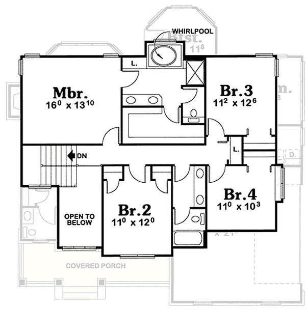 Farmhouse Floor Plan - Upper Floor Plan Plan #20-2025