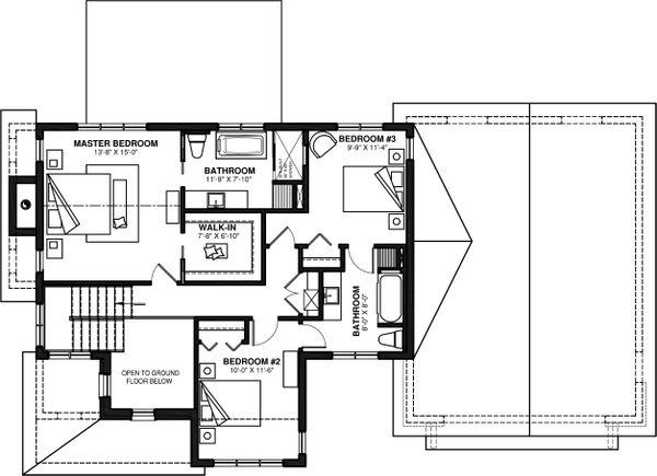 Farmhouse Floor Plan - Upper Floor Plan #23-2735