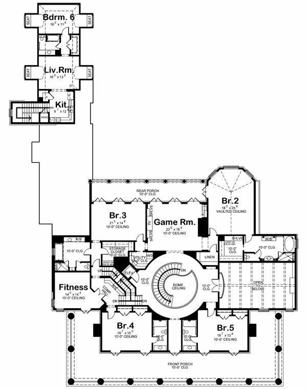 Southern Floor Plan - Upper Floor Plan Plan #20-2173