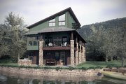 Modern Style House Plan - 2 Beds 3.5 Baths 2346 Sq/Ft Plan #472-3 Exterior - Rear Elevation