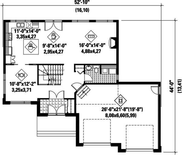 Contemporary Floor Plan - Main Floor Plan #25-4282