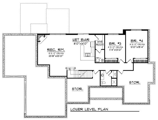 European Floor Plan - Lower Floor Plan Plan #70-874
