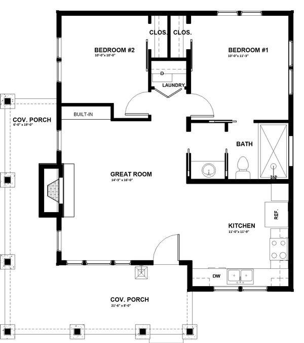 Cabin Floor Plan - Main Floor Plan #895-91