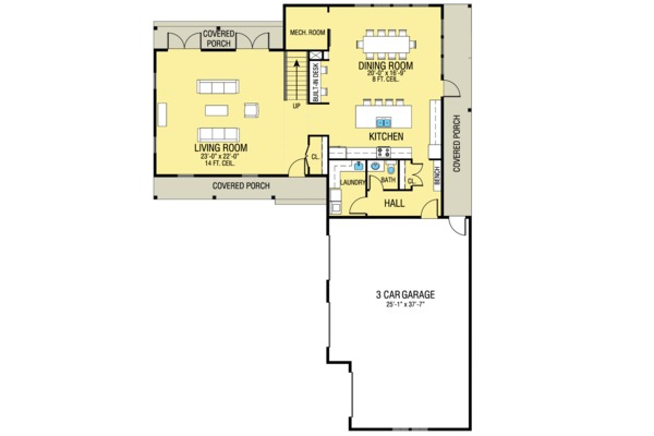 Farmhouse Floor Plan - Main Floor Plan Plan #1068-2