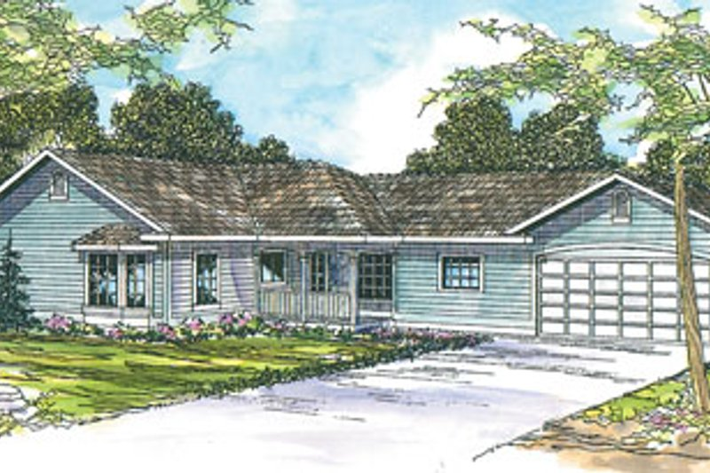 Ranch Exterior - Front Elevation Plan #124-710