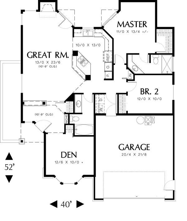 Ranch Floor Plan - Main Floor Plan Plan #48-583