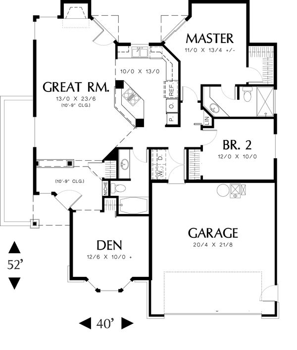 Ranch Floor Plan - Main Floor Plan Plan #48-583