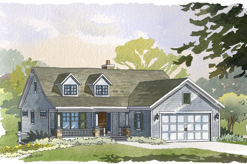 Farmhouse Style House Plan - 3 Beds 3 Baths 2411 Sq/Ft Plan #901-88 Exterior - Front Elevation