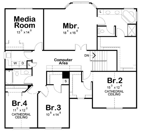 Traditional Floor Plan - Upper Floor Plan Plan #20-2180