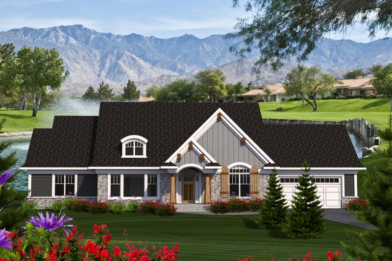 Ranch Exterior - Front Elevation Plan #70-1214