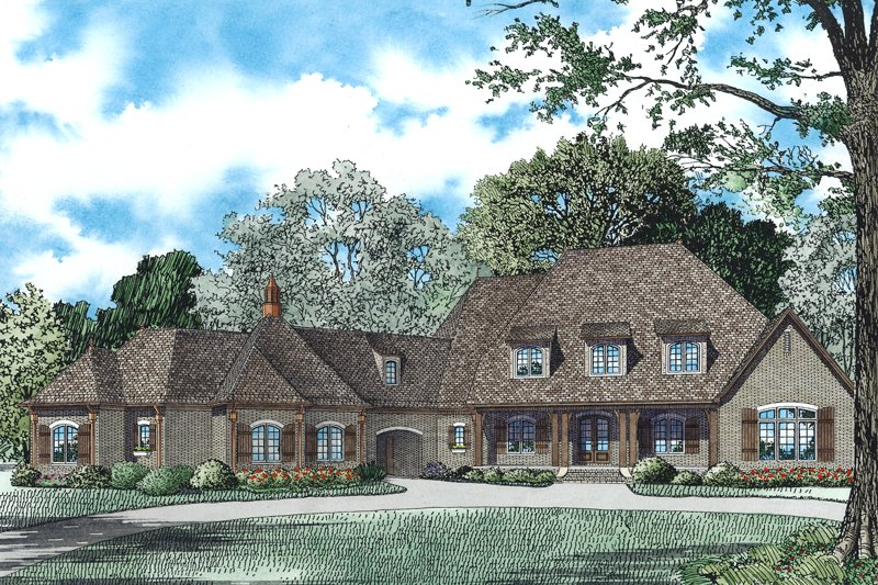 European Style House Plan - 6 Beds 5 Baths 6363 Sq/Ft Plan #17-2505
